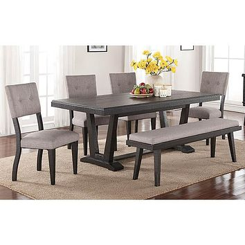 1105-7PC Ashen Echo Dining Table & 6 Chairs