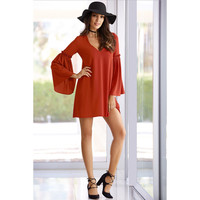 Orange V-Neck Bell Sleeve Shift Dress