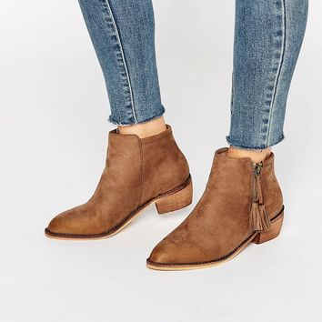 Glamorous Zip Taupe Flat Ankle Boots