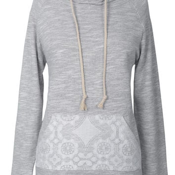 Cupshe You Are Mine Lace Hooded Sweatshirt