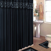 Home Dynamix HE15SF-492 Home Design Polyester 15-Piece Bathroom Set, Black/White
