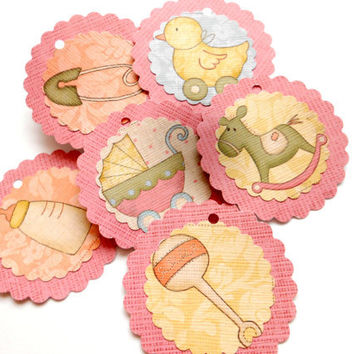 Choose your Color Twine, 12 Baby Shower Tags - Carriage, Baby Ducky, Rocking Horse - Baby Shower Favors - Scalloped Circle Tags