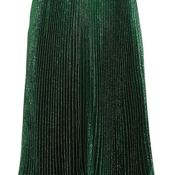 Christopher Kane - Pleated silk-blend lamé skirt