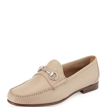 Unlined Leather Horsebit Loafer,Tan - Gucci