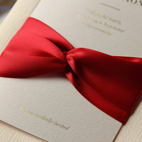 100pcs wedding invitations with ribbon-White and Red