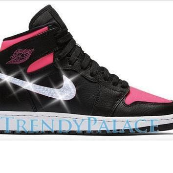 Custom Swarvorski Nike Air Jordan 1 OG Girl Sizes Blinged Out Shoes Custom Sneakers Ai