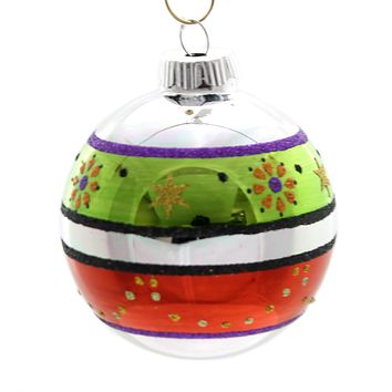 Shiny Brite Decorated Rounds Glass Ornament