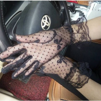 New Summer ladies nets short mesh sunscreen gloves Gothic Punk Emo Rock Costume Fancy Dress Sexy Lace lace gloves