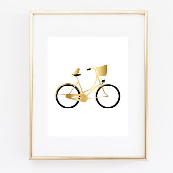 Bicycle Art Print, Faux Gold Bicycle, Bike Wall Art, Bird Art, Gallery Wall Art, Gold Decor, Bike Print, Bedroom Wall Art, Gold Bike