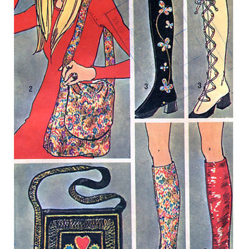 1970s Boho Hippie Steampunk Shoe SPATS and HANDBAGS Purse Simplicity 9553 UNCUT Vintage Sewing Patterns American Hustle Style