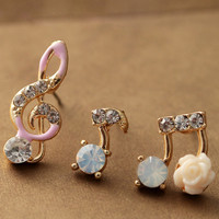 Super Cute Music Notes Rhinestone Earring Set