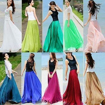 Retro Women Chiffon Double Layer Pleated New Long Maxi Elastic Waist Skirt