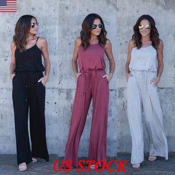 US Womens Summer Evening Party Playsuit Ladies Casual Rompers Long Jumpsuit Size