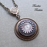 Spirograph Antique Mother of Pearl Button by TimelessTrinkets