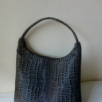 Hobo Bag brocade, crocodile skin design, shinny black, grey, gold brown glints, casual chic