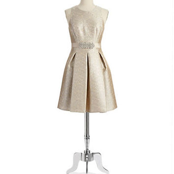 Eliza J Rhinestone Accented Fit and Flare Dress