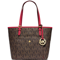 Jet Set Medium Snap-Pocket Tote Bag, Brown/Chili - MICHAEL Michael Kors