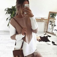 Streetstyle  Casual White Patchwork Hollow-out Round Neck Long Sleeve Sweater