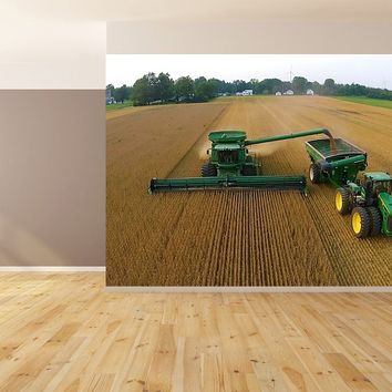 Dump On the Go Soybean Combining Harvest Custom Designed Wallpaper Peel and Stick