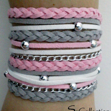 PINK - GREY  Suede Cord Wrap Bracelet with Silver Accents,Handmade Jewelry,Bohemian bracelet