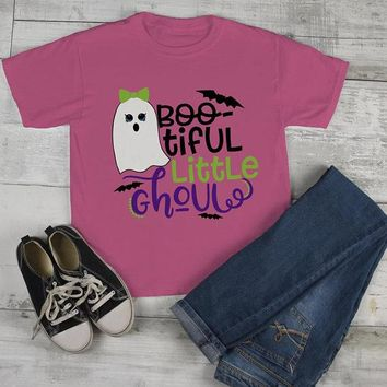 efcd4589 Girl's Boo Tiful Halloween T shirt Cute Ghoul Ghost Shirts Toddl