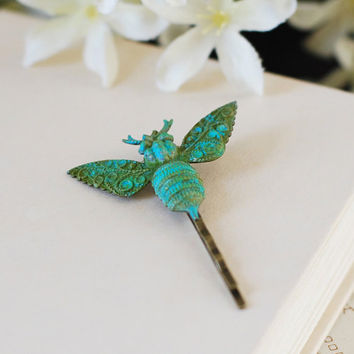 Bee Bobby Pin. Green Teal Blue Verdigris Patina Brass Victorian Bee Hair Bobby Pin. Woodland Hair Accessory