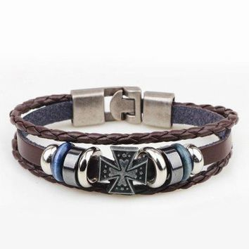 Hipsters Multilayer Cross PU Leather Bracelet - Coffee