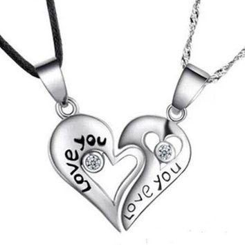 PEAPIX3 Fashion silver 'LOVE YOU' heart-shaped pendant necklace Couples Necklace (2 pcs a set) = 1929667588