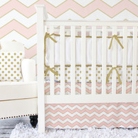 Metallic Coral Chevron Baby Bedding