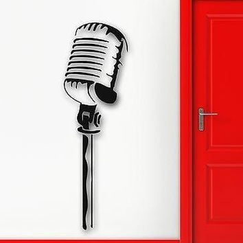 Wall Stickers Vinyl Decal Rock Pop Music Singer Microphone Cool Decor (ig1087)