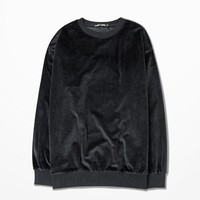 Essential Velour Oversized Pullover | Black