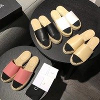 Chanel Women Fashion Leather summer Casual Flat Sandals