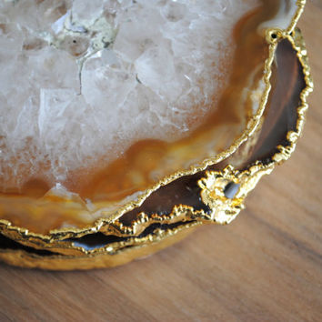 Gold Plated Agate Coasters - Set of Four, Gold Rimmed Agate Coasters, Gold Agate Coasters