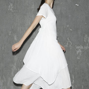 White linen dress maxi dress women dress long prom dress layered dress (1309)