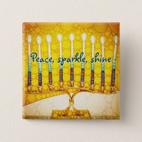 Peace Sparkle Shine, Yellow Hanukkah Menorah Photo Pinback Button