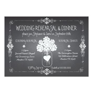 Chalkboard Wedding Rehearsal & Dinner Mason Jar 5x7 Paper Invitation Card