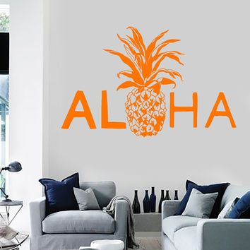 Vinyl Wall Decal Aloha Pineapple Hawaii Hawaiian Stickers Murals Unique Gift (ig4699)