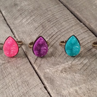 Bronze tone teardrop Colorful druzy ring