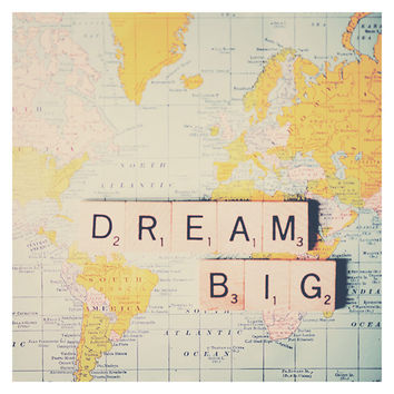 dream big photograph, inspirational wall art, mustard, pastel, blue, color photography, world, map, wanderlust, travel photograph