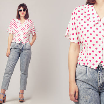 80s Polka Dot Shirt / Cropped White Shirt / Fuchsia and White Button Up Shirt