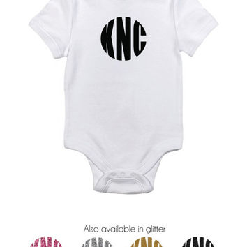 Personalized Baby Bodysuit with initials, personalized baby clothing,Monogrammed baby clothes, new born gift, monogrammed glitter, baby gift