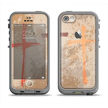 The Tan Splattered Color-Crosses Apple iPhone 5c LifeProof Fre Case Skin Set