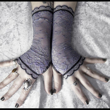 Lumenn Lace Fingerless Gloves - Dusky Purple Lavender Floral Pale Gold Highlight - Black - Gothic Vampire Tribal Bellydance Goth Fetish