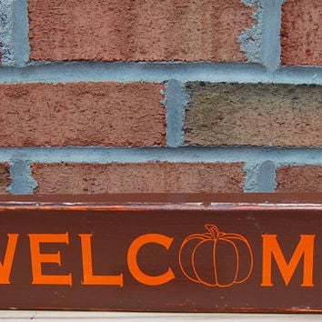 Welcome With Pumpkin Hand Painted Reclaimed Wood Wall Art,Fall Wood Sign,Wood Hand Painted Sign,Fall Home Decor,Rustic Fall Sign,Fall Decor