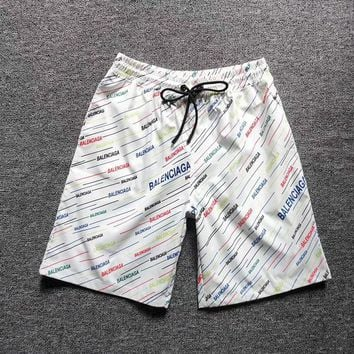 White BALENCIAGA Beach Shorts Fashion Casual Summer Wear Holiday Vacation