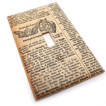 Cherub light switch plate  vintage dictionary by summittdesigns