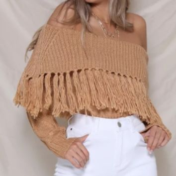 Women's sweater knit wind loose tassel strapless collar sweater
