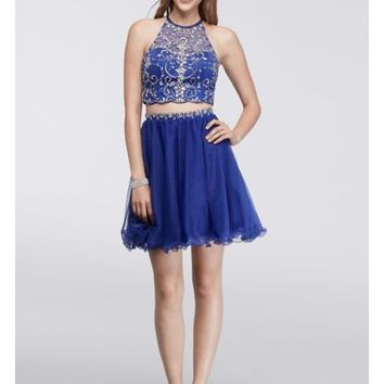 Homecoming Halter Crop Top and Matching Skirt - Davids Bridal
