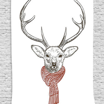 Oh Deer It's Cold Fabric Wall Art Tapestry