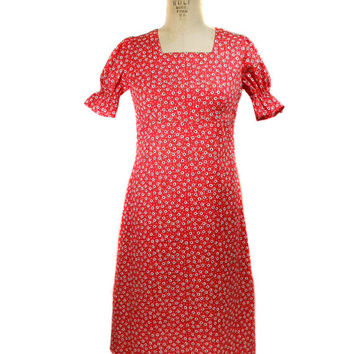 1960s Rolen Floral Sundress / Daisy Flowers / Spring Summer / Red / Cotton / Short Cap Sleeves / Womens Vintage Dress / Size Small